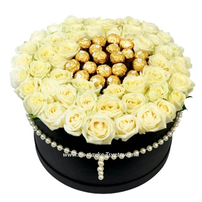 """White roses in a box """"Casket"""""""
