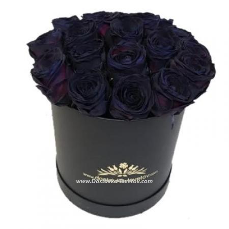 """Коробка роз """"Чёрный Кофе"""""""