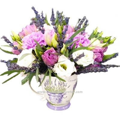 """Flowers for the birth of a child Цветы в чашке """"Секрет Лаванды"""""""