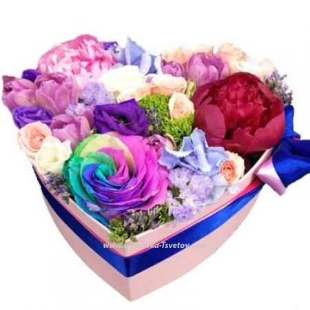 """Сердце из цветов """"Сапфир"""""""