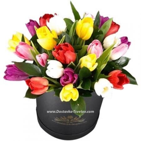 """Арлекино"" тюльпаны в коробке"