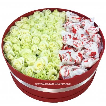 "Коробка белых роз ""Королева"""