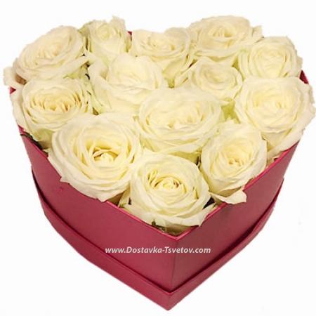 """Коробка роз """"Чистое Сердце"""""""
