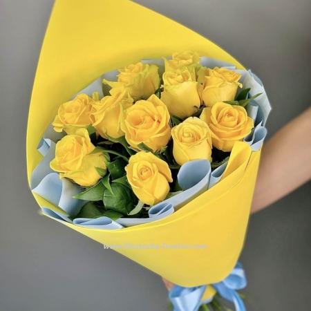 """Букет жёлтых роз """"Шампань"""""""