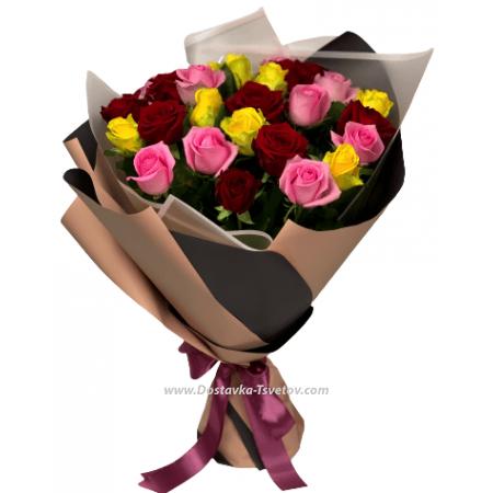 """Разноцветные розы """"Киви"""""""