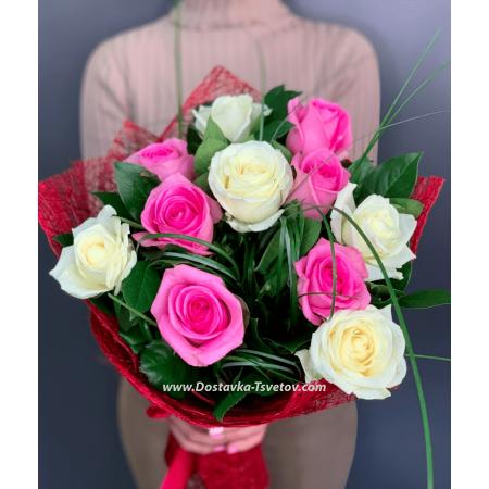 """Бело-розовые розы """"Менорка"""""""