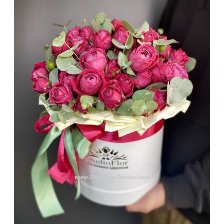 """Розы Коробка розовых роз """"Благодать"""""""