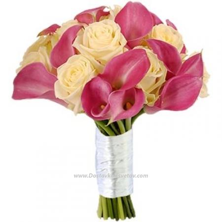 """Каллы и розы в букете """"Нега"""""""