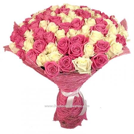 """Бело-розовые розы """"Ангел"""""""