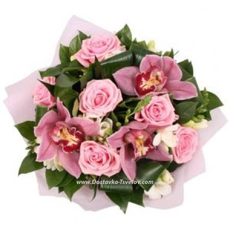 """Фрезии, розы и орхидеи """"Флюиды"""""""