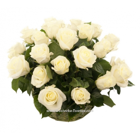 """Корзина белых роз """"Эрмитаж"""""""