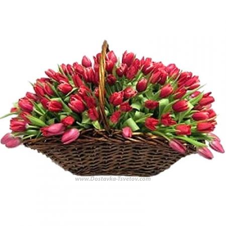 "Корзина с тюльпанами ""Мерси"""