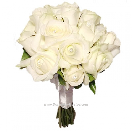 "Белые розы невесте ""Зефирчик"""