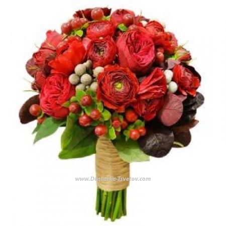 """Розы и ранункулюсы """"Лава"""""""