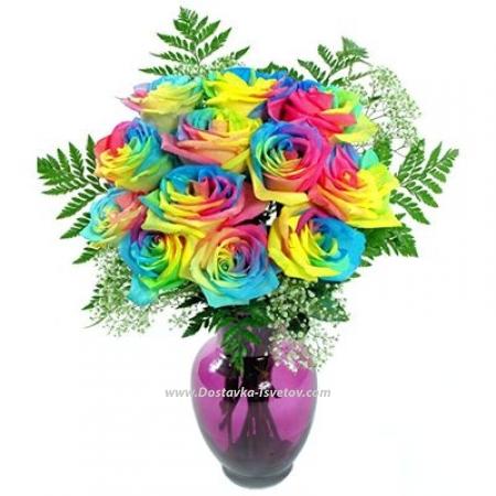 """Букет радужных роз """"Синичка"""""""
