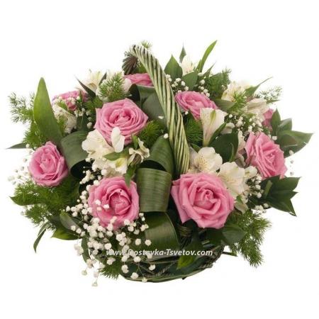 """Розовые розы в корзине """"Кокетка"""""""