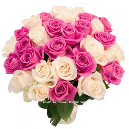 """Бело-розовые розы """"Искушение"""""""