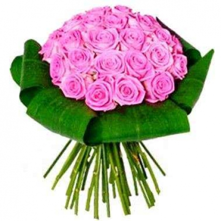 """Розовые розы с зеленью """"Фея"""""""