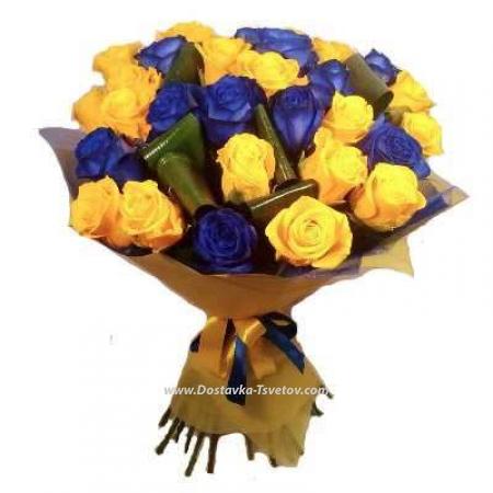 """Жёлто-синие розы """"Линда"""""""