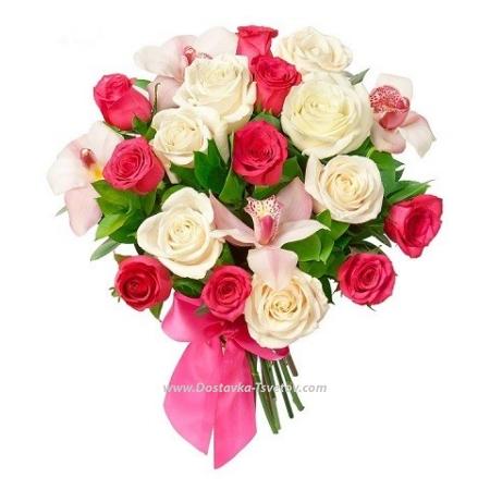 """Розы с орхидеями """"Монсеррат"""""""