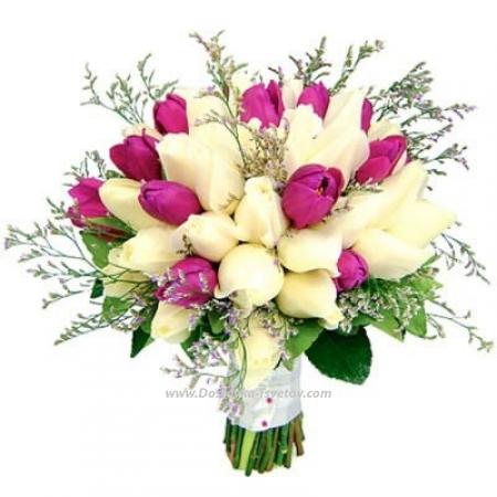"""Розы с тюльпанами """"Глория"""""""