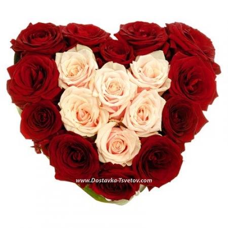 """Розы в сердце """"Обожаю"""""""