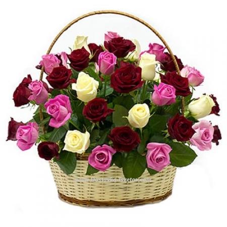 """Корзина роз """"Весенний Вальс"""""""