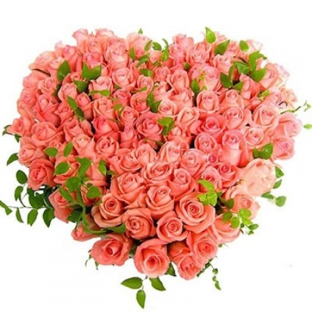 "Розовые розы ""Сердце Love"""