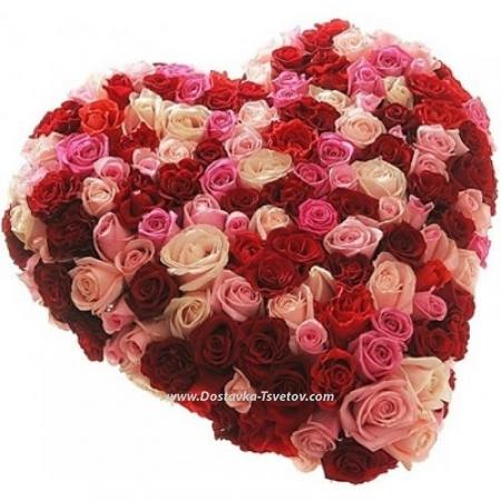 """Сердце из роз микс """"Изабелла"""""""