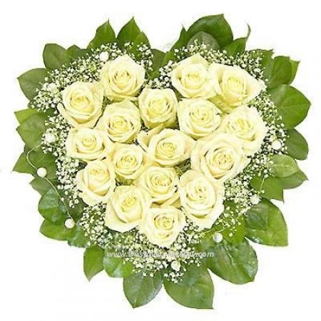 """Сердце из белых роз """"Бусинка"""""""