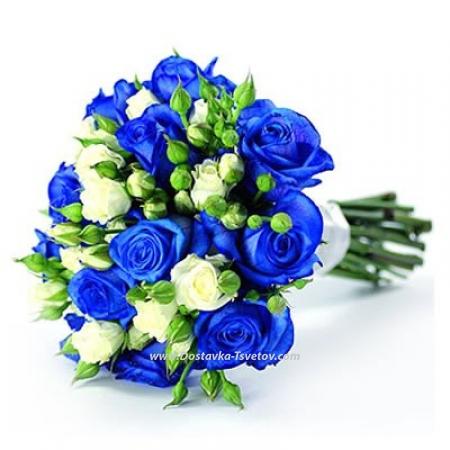 """Бело-синие розы """"Синий Бархат"""""""