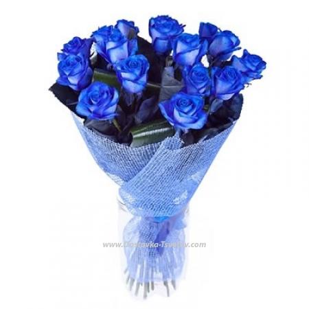 """Букет 15 синих роз """"Молния"""""""