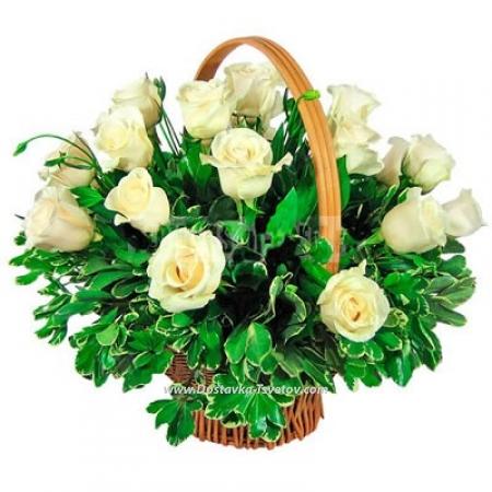 """Корзина белых роз """"Гранада"""""""