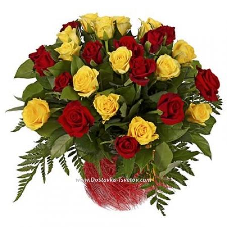 """Красно-жёлтые розы """"Лирика"""""""