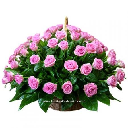 """Розы в корзине """"Розовая ночь"""""""