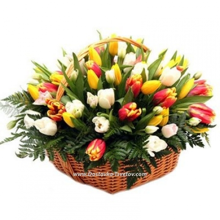 "Тюльпаны в корзине ""Жемчужины"""