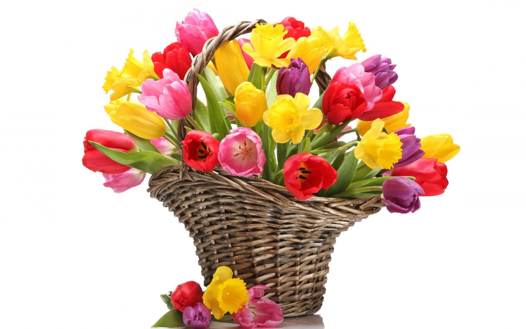 Открытка 8 марта цветы в корзине