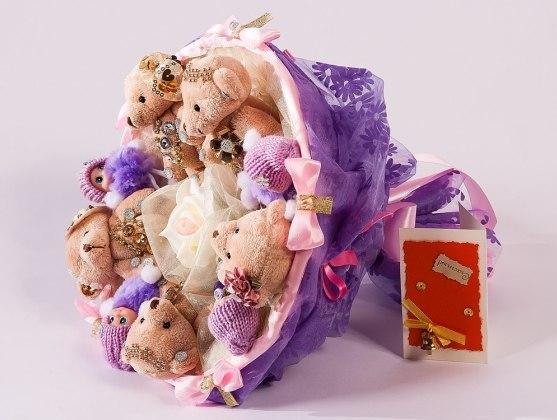 Букет из плюшевых мишек на свадьбу фото цена как заказать корневища многолетних цветов