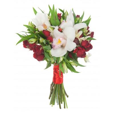 Букета из орхидей в корзине цена свадебного, цветочные букет с лилии и хризантемами